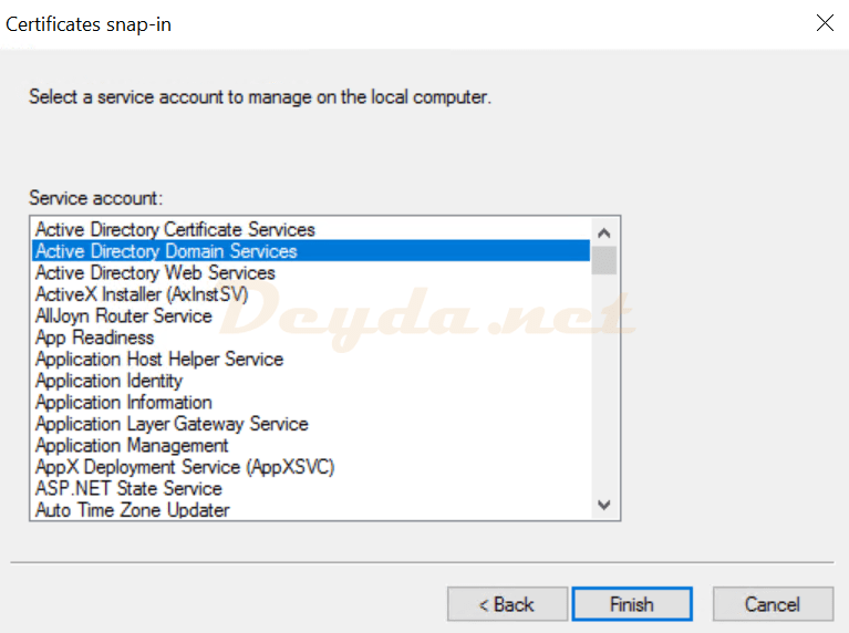 Service Account Active Directory Domain Services