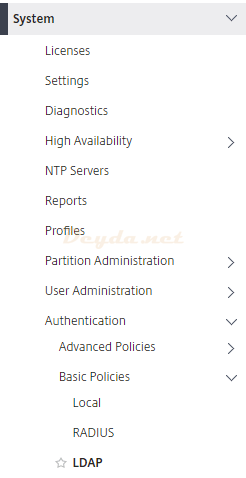 System Authentication Basic Policies LDAP