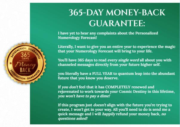 Numerology Forecast-money back