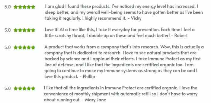 NHR Science Immune Protect customer reviews
