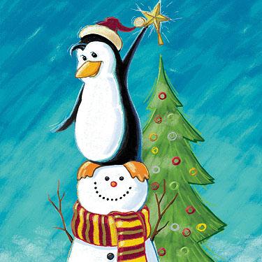 Penguin and Snowman Teamwork.