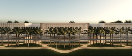 Press kit | 1204-07 - Press release | Pei Cobb Freed & Partners Unveils Transformative Design for IESB Brasilia - Pei Cobb Freed & Partners - Institutional Architecture - Linear allée with classroom buildings beyond - Photo credit: Pei Cobb Freed & Partners