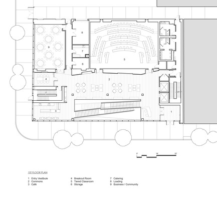 Press kit   2353-04 - Press release   The Breazzano Family Center Blazes a Trail for Academic Development in Collegetown - ikon.5 architects - Institutional Architecture - Ground floor plan - Photo credit: ikon.5 architects