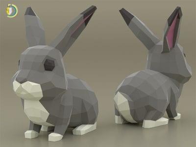 Rabbit 3d Paper Craft Free PDF Template
