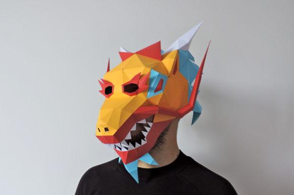 3d Papercraft - DIY Chinese Dragon Mask