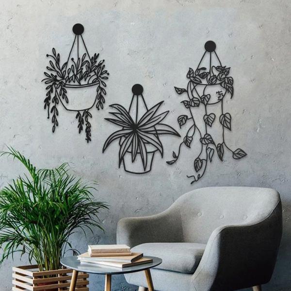 Flowers and Pots Metal Wall Art-Metal Wall Sculpture