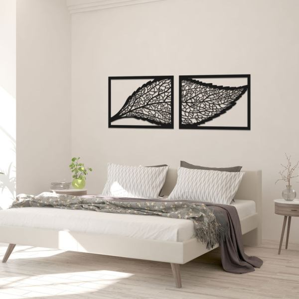 Large Wooden Wall Art, Decorative Diptych Leaves, Wall Decor