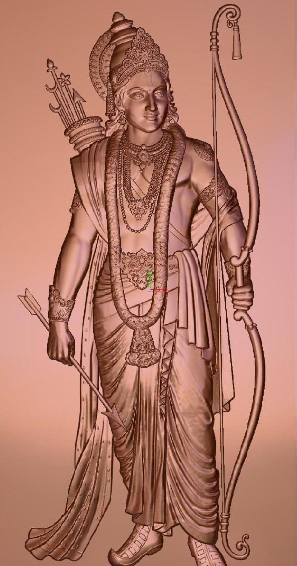 God Shri Ram 3D Relief Model for CNC Router