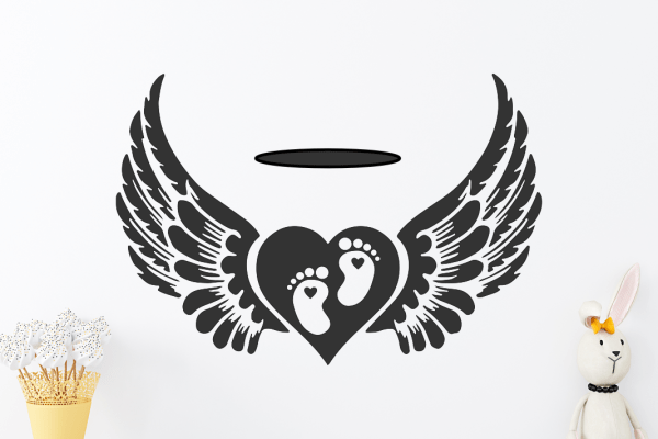Baby Feet Heart Angel SVG Free Vector Files