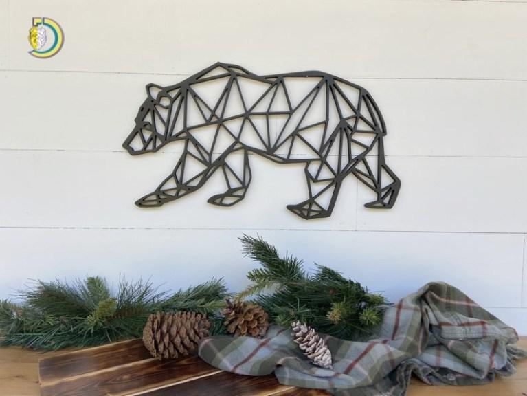 Laser Cut Bear Geometric Wall Hanging Geometric Bear Wall Decor