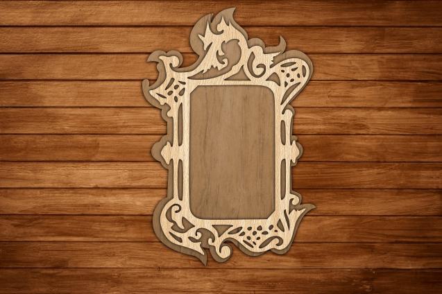 Laser Cut Decorative Wooden Mirror Frame, Photo Frame Free Vector