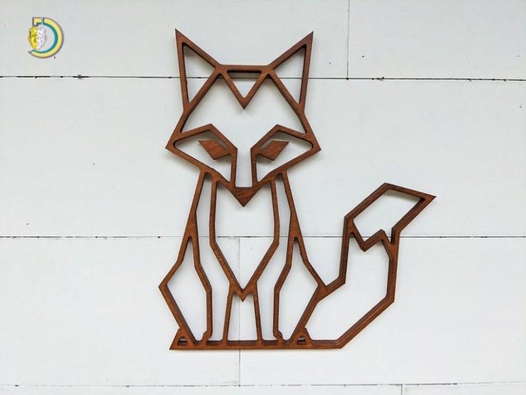 Laser Cut Fox Wall Hanging Geometric Woodland Wall Decor