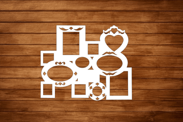 Laser Cut Heart Photo Frame Layout Free Vector