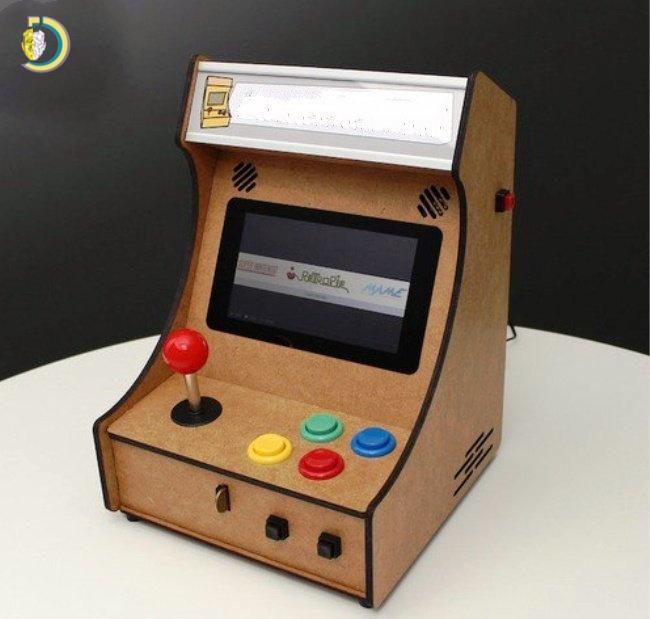 Laser Cut Mini Pi-Arcade Game Machine for Kids Free Vector