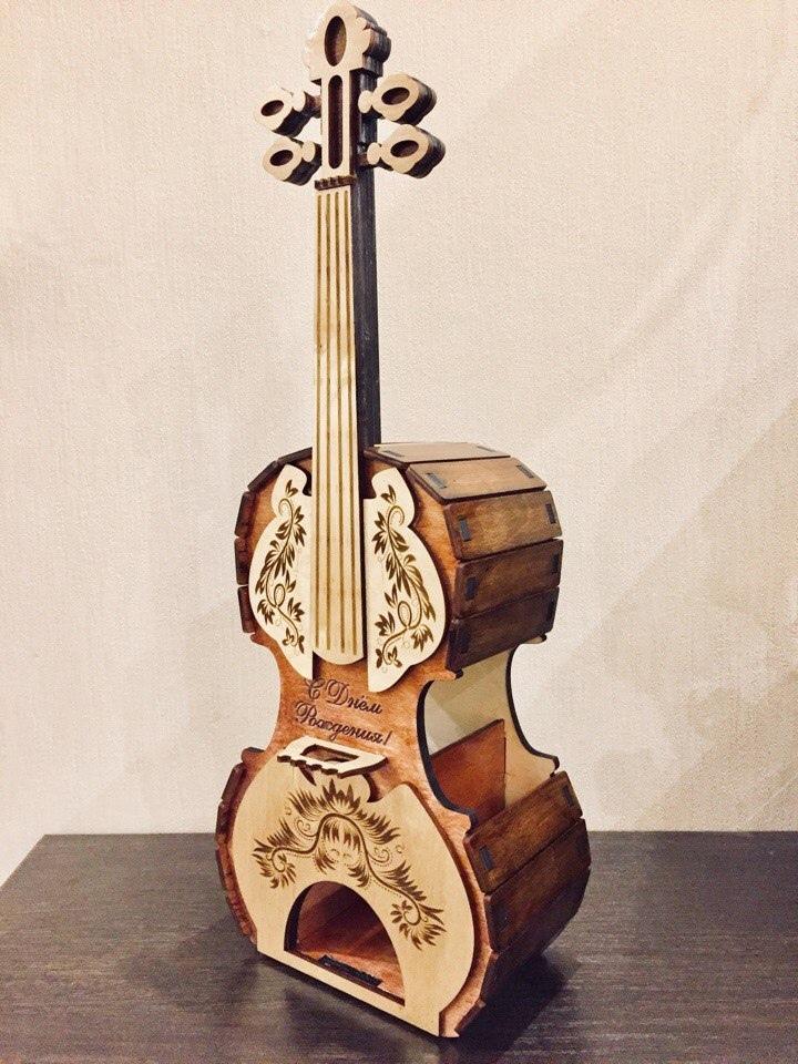 Laser Cut Violin Tea House Plywood Free Vector