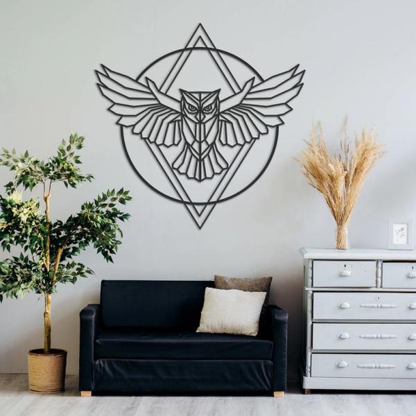 Owl Wall Art, Metal Wall Decor, Metal Wall Art, Geometric Wall Art