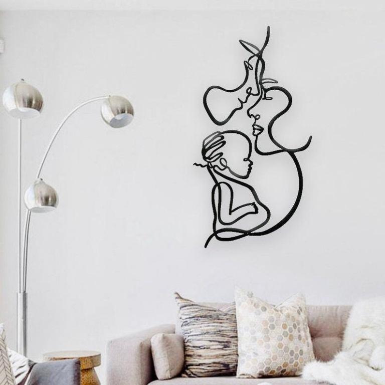 Single Line Art, Metal Wall Art, Family Wall Art