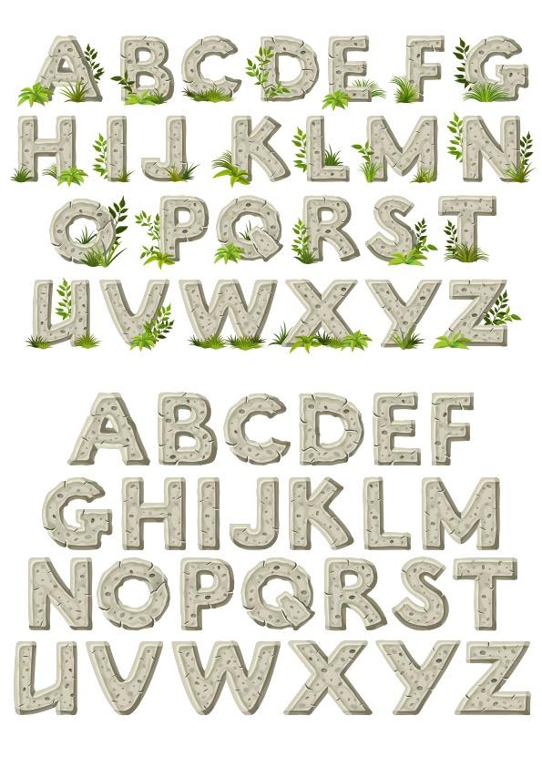 Stone Alphabet Set CDR Free Vector