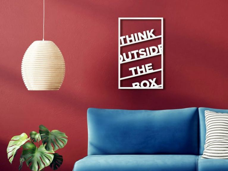 Think Outside The Box Wooden Sign, Wood Wall Art