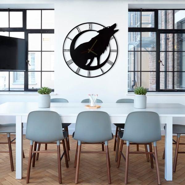 Wolf Unique Design Metal Wall Clock, Metal Wall Art