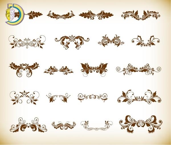 Vintage Ornaments With Floral Element For Design Vector
