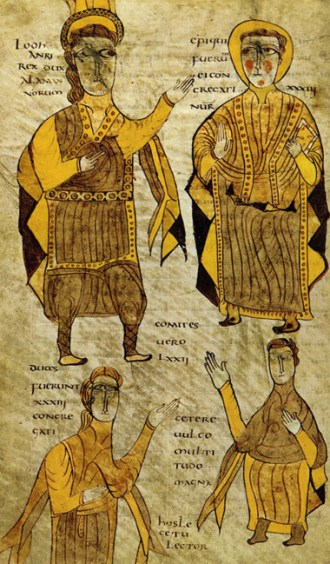 Lodhanri, regele alamanilor, inconjurat de un preot, un duce sit un conte. Sursa Wikipedia.