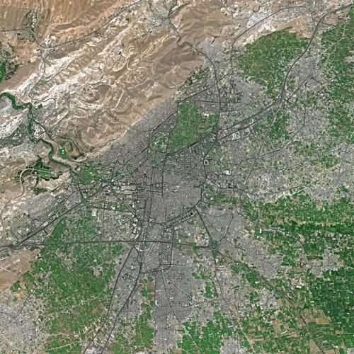 Damascus din SPOT Satellite. Autor Cnes - Spot Image, sursă Wikipedia.