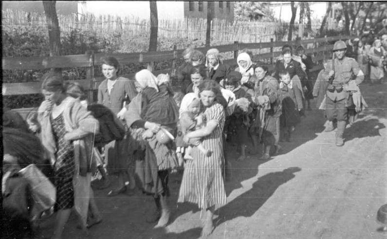 Evrei deportaţi în Transnistria sub supravegherea unui soldat român. German federal Archives. Presse- und Informationsamt der Bundesregierung - Bildbestand (B 145 Bild). Wikipedia.