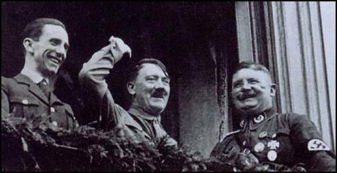 Adolf Hitler, Joseph Goebbels and Ernst Röhm in 1933