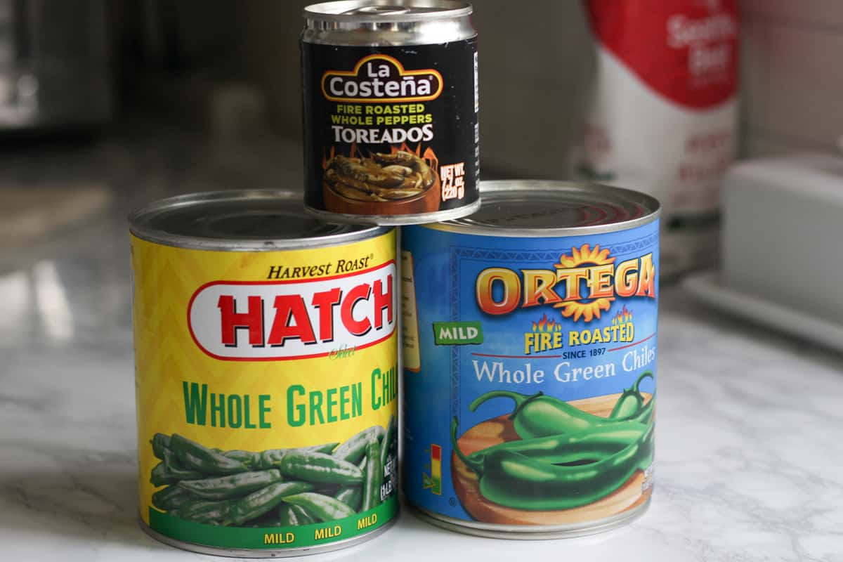 Cans of green chiles.