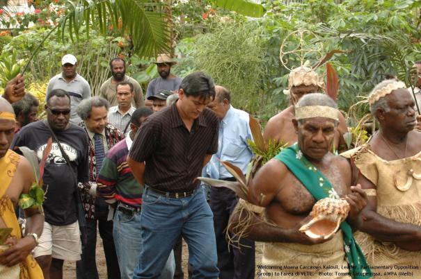 Welcoming Moana Carcasses Kalosil (Leader, Parliamentary Opposition Group) to Farea di VETE