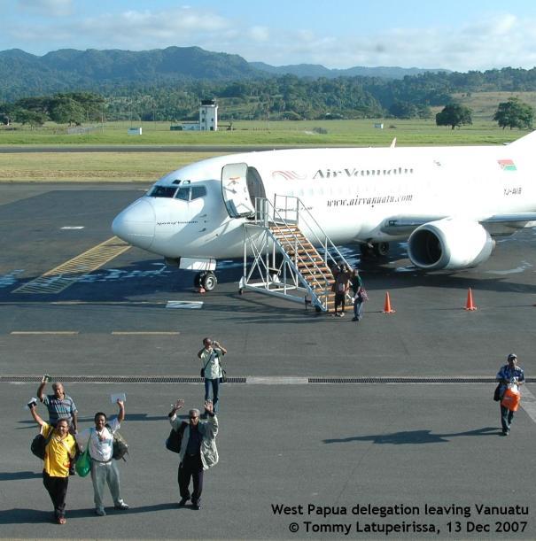 West Papua delegation leaving Port Vila