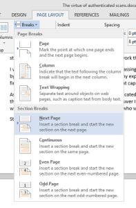 landscape part of a Word document - insert a break