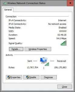 check your wireless network speed in Windows 10