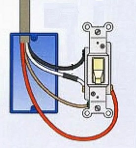 where to connect the red wire to a light switch