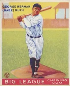 1933 Goudey baseball cards - Babe Ruth
