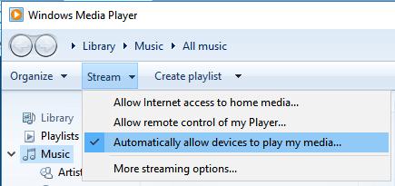 Stream from Windows Media Player to Roku