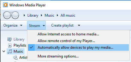 Stream from Windows Media Player to Roku