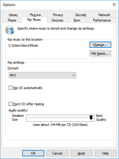 320kbps bitrate MP3s in Windows Media Player in Windows 10