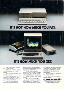Commodore 64 vs IBM PCjr ad from 1985