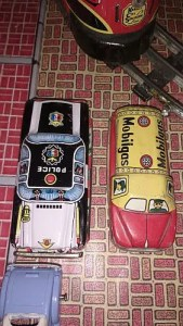 Nomura tin cars - police car and oil truck