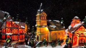 Christmas village set up tips - backdrop