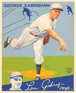 1934 Goudey baseball cards - George Earnshaw
