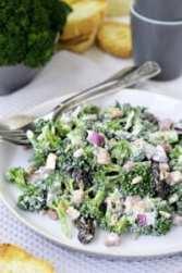 Broccoli salad. Close up.