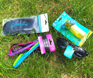 gifts for sleep away campers hair ties, a personal fan, extra sunglasses and a sleep mask by DFFrentFocus.com