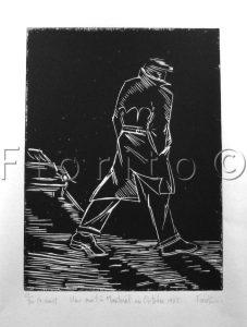 """""""Le marcheur, 1985"""". 6 x 8 po. (15,2 x 20,3 cm)."""