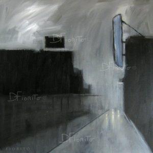 """VENDU- """"La rue, 13-11-2015"""".Acrylique sur toile 36 x 36 po. (91,5 x 91,5 cm)"""