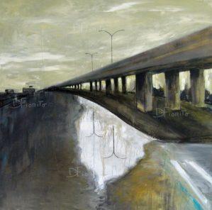 ''La rue, 23-06-2017'' acrylique sur toile 36 x 36 po. (91,5 x 91,5)