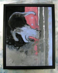 """""""Le Chat, 30-10-2016"""". Acrylique sur toile, 14x18po (36x46cm)."""