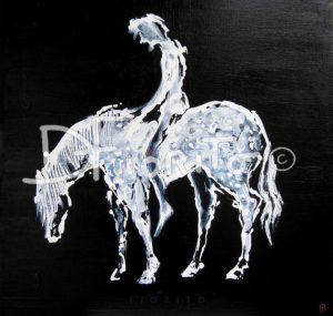 """""""Don Quichotte, 01-01-2011"""". Huile sur toile, 20 x 20 po (51 x 51 cm)."""